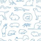 Modèle sans couture monochrome avec des animaux familiers dessinés avec des courbes de niveau sur le fond blanc Contexte avec les illustration de vecteur