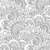 Modèle sans couture monochrome avec des motifs floraux illustration stock