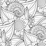 Modèle sans couture monochrome avec des motifs floraux Images stock