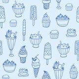 Modèle sans couture monochrome avec la crème glacée délicieuse et les desserts laiteux de divers types sur le fond blanc contexte Photo libre de droits
