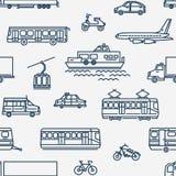Modèle sans couture monochrome avec le transport de différents types sur le fond blanc Image stock