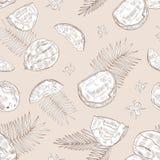 Mod?le sans couture monochrome avec les noix de coco enti?res et criqu?es, les fleurs de floraison et les branches de paume tir?e illustration libre de droits