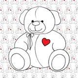 Modèle sans couture monochrome de beau jouet de Teddy Bear de bande dessinée Photographie stock