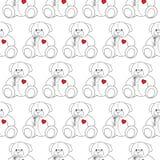 Modèle sans couture monochrome de beau jouet de Teddy Bear de bande dessinée Image libre de droits