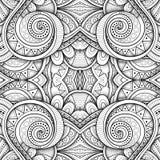 Modèle sans couture monochrome de tuile, kaléidoscope de fantaisie Images stock
