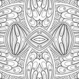 Modèle sans couture monochrome de tuile, kaléidoscope de fantaisie illustration stock