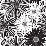 Modèle sans couture monochrome des fleurs abstraites floral illustration stock