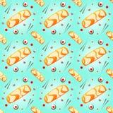 Modèle-sans couture-nature-sushi-nourriture-poissons Illustration Stock