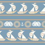 Modèle sans couture nautique avec le voilier Photographie stock