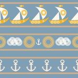 Modèle sans couture nautique avec le voilier Illustration de Vecteur