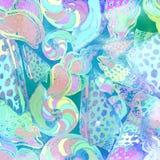 Modèle sans couture nautique texturisé d'aquarelle shells Douleur de main Image libre de droits