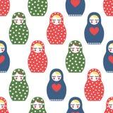 Modèle sans couture niché de poupée Poupée russe en bois mignonne - Matrioshka Photo stock