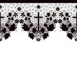 Modèle sans couture noir de dentelle sur le blanc Photo stock