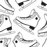 Modèle sans couture noir et blanc avec emballer des patins Illustration tirée par la main de mode Oeuvre d'art créative d'encre H illustration libre de droits