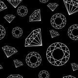 Modèle sans couture noir et blanc avec le contour de diamants photo stock