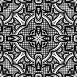 Modèle sans couture noir et blanc avec le motif de mosaïque Photographie stock libre de droits
