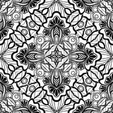 Modèle sans couture noir et blanc avec le motif floral de mosaïque Photos libres de droits