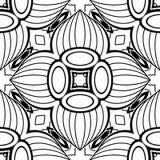 Modèle sans couture noir et blanc avec le motif floral de mosaïque Photo libre de droits
