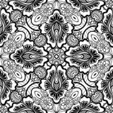 Modèle sans couture noir et blanc avec le motif floral de mosaïque Photo stock