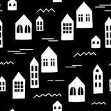 Modèle sans couture noir et blanc avec les maisons primitives Descripteur de vecteur Images stock