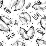 Modèle sans couture noir et blanc chinois de biscuits de fortune Nourriture chinoise Illustration de vecteur de style de croquis illustration de vecteur