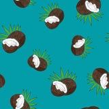 Modèle sans couture, noix de coco sur Azure Background Image stock