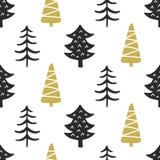 Modèle sans couture nordique scandinave d'arbres forestiers Photos stock