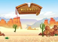 Modèle sans couture occidental sauvage avec des montagnes et des cactus Rétro fond occidental pour les jeux, l'ui, les affiches illustration libre de droits