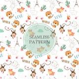 Modèle sans couture orange-clair et blanc avec le tigre, hippopotame illustration stock