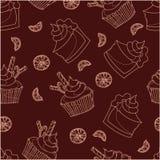 Modèle sans couture orange de gâteau et de petit gâteau dans des couleurs monochromes illustration de vecteur