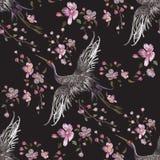 Modèle sans couture oriental de broderie avec des grues et des fleurs de cerisier illustration de vecteur