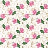 Modèle sans couture oriental de roses roses illustration stock