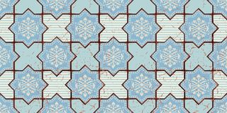 Modèle sans couture oriental de vecteur Marocain réaliste de vintage, tuiles octogonales portugaises Images stock