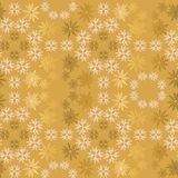 Modèle sans couture ornemental simple de vecteur de flocon de neige d'or et rose-clair Papier peint abstrait, enveloppant la déco photos stock