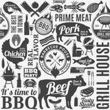 Modèle sans couture ou fond de barbecue typographique de vecteur Photographie stock