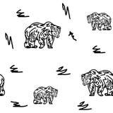 Modèle sans couture, ours de marche, sur un fond blanc illustration de vecteur
