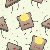Modèle sans couture, pain grillé heureux Image stock