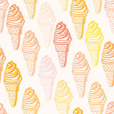 Modèle sans couture parfait avec des cornets de crème glacée Images libres de droits