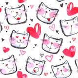 Modèle sans couture peint à la main avec les chatons mignons Chats lumineux de bande dessinée d'aquarelle sur le fond blanc Belle illustration stock