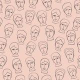 Modèle sans couture peu précis de visages principaux de griffonnage, ligne noire Art Vector illustration de vecteur