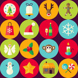 Modèle sans couture plat de Joyeux Noël de Brown de vecteur réglé avec Circ Image stock