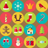 Modèle sans couture plat de Joyeux Noël de vecteur de Brown réglé avec Circ Illustration de Vecteur