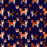 Modèle sans couture plat de shiba d'inu de sourire drôle de chien, illustration de vecteur illustration stock