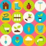 Modèle sans couture plat rose d'outils de jardinage de vecteur avec des cercles illustration stock