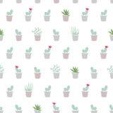 Modèle sans couture plat simple avec le cactus, succulents, pla de désert Illustration de Vecteur