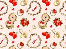 Modèle sans couture pour le jour de tous les amants cadeaux d'or, bijoux, diamants, or, bracelet, pendant, anneau, téléphone d'or illustration stock