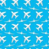 Modèle sans couture pour vos idées Avion de passagers dans un style plat, vue de face, et dans la vue alternative d'en haut Contr illustration de vecteur