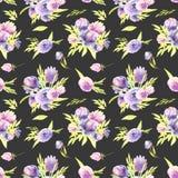 Modèle sans couture pourpre de bouquets de pivoines et de roses d'aquarelle Image stock