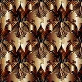 Modèle sans couture principal grec d'or Fond 3d floral de vecteur wal Photos stock