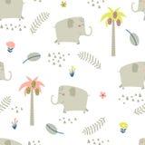 Modèle sans couture puéril avec les éléphants drôles Image libre de droits
